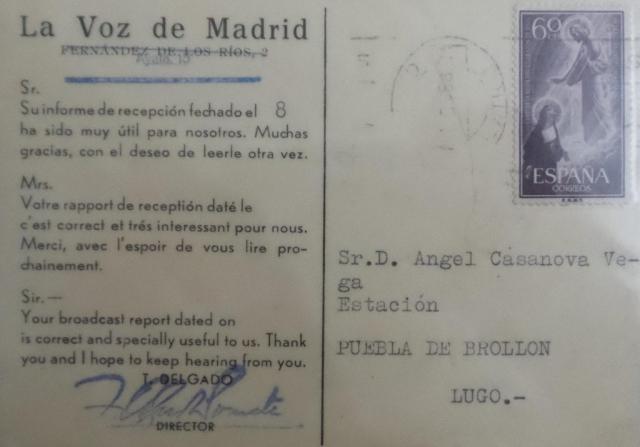 La Voz de Madrid. Esta QSL la encontré. La había recibido mi padre en 1956. Genes?